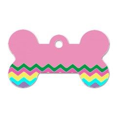 Easter Chevron Pattern Stripes Dog Tag Bone (One Side)