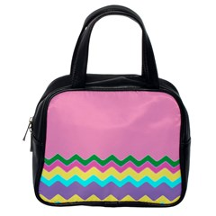 Easter Chevron Pattern Stripes Classic Handbags (One Side)