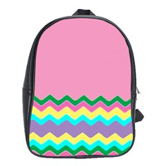 Easter Chevron Pattern Stripes School Bags(Large)
