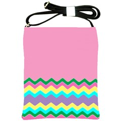 Easter Chevron Pattern Stripes Shoulder Sling Bags