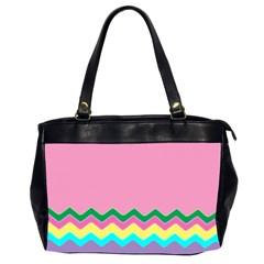 Easter Chevron Pattern Stripes Office Handbags (2 Sides)  by Amaryn4rt