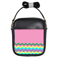 Easter Chevron Pattern Stripes Girls Sling Bags
