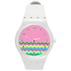 Easter Chevron Pattern Stripes Round Plastic Sport Watch (m) by Amaryn4rt