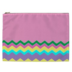 Easter Chevron Pattern Stripes Cosmetic Bag (XXL)