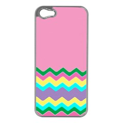 Easter Chevron Pattern Stripes Apple iPhone 5 Case (Silver)