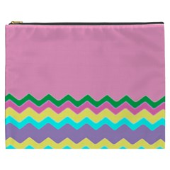 Easter Chevron Pattern Stripes Cosmetic Bag (XXXL)