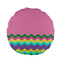 Easter Chevron Pattern Stripes Standard 15  Premium Round Cushions