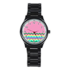 Easter Chevron Pattern Stripes Stainless Steel Round Watch