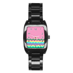 Easter Chevron Pattern Stripes Stainless Steel Barrel Watch