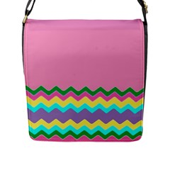 Easter Chevron Pattern Stripes Flap Messenger Bag (l)  by Amaryn4rt