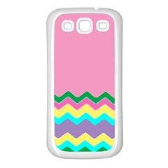 Easter Chevron Pattern Stripes Samsung Galaxy S3 Back Case (White)