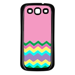 Easter Chevron Pattern Stripes Samsung Galaxy S3 Back Case (Black)