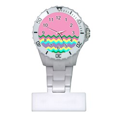Easter Chevron Pattern Stripes Plastic Nurses Watch