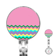 Easter Chevron Pattern Stripes Stainless Steel Nurses Watch