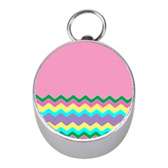 Easter Chevron Pattern Stripes Mini Silver Compasses