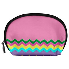 Easter Chevron Pattern Stripes Accessory Pouches (large)  by Amaryn4rt