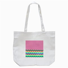 Easter Chevron Pattern Stripes Tote Bag (White)