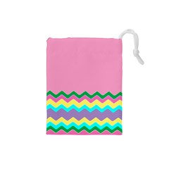 Easter Chevron Pattern Stripes Drawstring Pouches (Small)