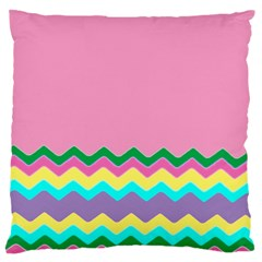 Easter Chevron Pattern Stripes Large Flano Cushion Case (Two Sides)