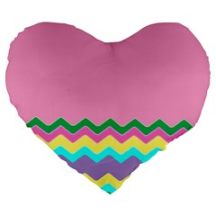 Easter Chevron Pattern Stripes Large 19  Premium Flano Heart Shape Cushions