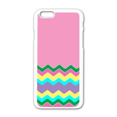Easter Chevron Pattern Stripes Apple iPhone 6/6S White Enamel Case