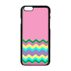 Easter Chevron Pattern Stripes Apple iPhone 6/6S Black Enamel Case