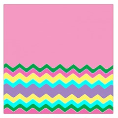Easter Chevron Pattern Stripes Large Satin Scarf (square)