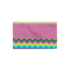 Easter Chevron Pattern Stripes Cosmetic Bag (XS)