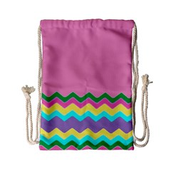 Easter Chevron Pattern Stripes Drawstring Bag (Small)
