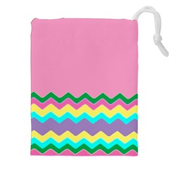 Easter Chevron Pattern Stripes Drawstring Pouches (XXL)