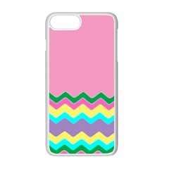 Easter Chevron Pattern Stripes Apple iPhone 7 Plus White Seamless Case