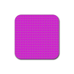 Clovers On Pink Rubber Coaster (square)  by PhotoNOLA