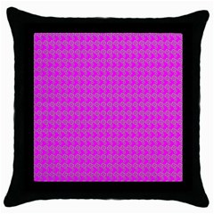 Clovers On Pink Throw Pillow Case (black) by PhotoNOLA