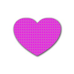 Clovers On Pink Rubber Coaster (heart)  by PhotoNOLA