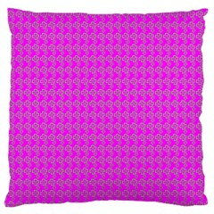 Clovers On Pink Large Cushion Case (two Sides) by PhotoNOLA