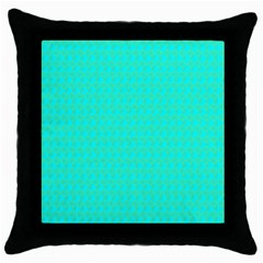 Clovers On Blue Throw Pillow Case (black) by PhotoNOLA