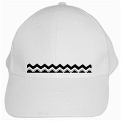 Chevrons Black Pattern Background White Cap by Amaryn4rt
