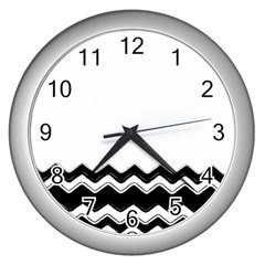 Chevrons Black Pattern Background Wall Clocks (silver)  by Amaryn4rt