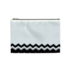 Chevrons Black Pattern Background Cosmetic Bag (medium)  by Amaryn4rt