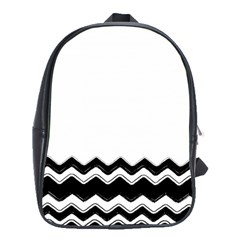 Chevrons Black Pattern Background School Bags(large)  by Amaryn4rt