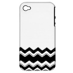 Chevrons Black Pattern Background Apple Iphone 4/4s Hardshell Case (pc+silicone) by Amaryn4rt