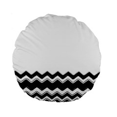Chevrons Black Pattern Background Standard 15  Premium Flano Round Cushions by Amaryn4rt