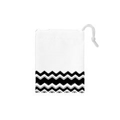 Chevrons Black Pattern Background Drawstring Pouches (xs)  by Amaryn4rt