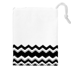 Chevrons Black Pattern Background Drawstring Pouches (xxl) by Amaryn4rt