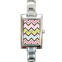 Chevrons Stripes Colors Background Rectangle Italian Charm Watch by Amaryn4rt