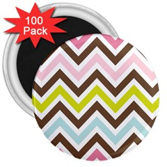 Chevrons Stripes Colors Background 3  Magnets (100 Pack) by Amaryn4rt