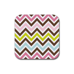 Chevrons Stripes Colors Background Rubber Square Coaster (4 Pack)  by Amaryn4rt