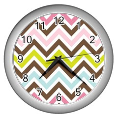 Chevrons Stripes Colors Background Wall Clocks (silver)  by Amaryn4rt