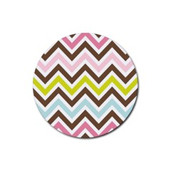 Chevrons Stripes Colors Background Rubber Coaster (round)  by Amaryn4rt