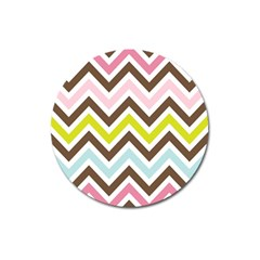 Chevrons Stripes Colors Background Magnet 3  (round) by Amaryn4rt